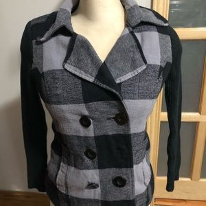 Plaid black blazer *missing button*